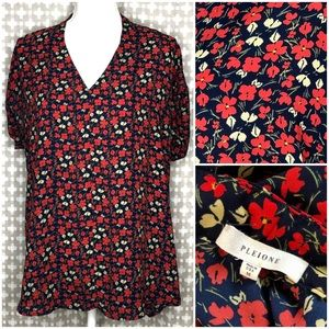 PLEIONE Red Navy Floral Short Sleeve Blouse Top M